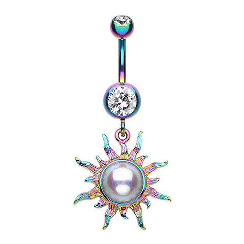Dangling Belly Ring. Belly Bars Australia. Rainbow Sunburst Pearl Belly Button Bar