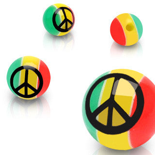 Replacement Ball. High End Belly Rings. 6mm Rastafarian Peace Symbol Balls