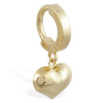 TummyToys® Patented Clasp. High End Belly Rings. TummyToys® 14K Yellow Gold Puffed Heart Belly Ring