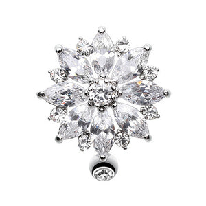 Reverse Flower Burst Belly Ring - Reverse Top Down Belly Ring. Navel Rings Australia.