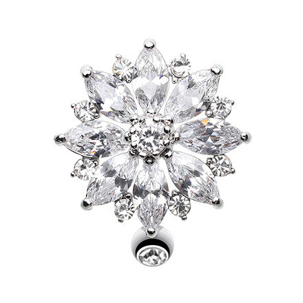 Reverse Top Down Belly Ring. Navel Rings Australia. Reverse Flower Burst Belly Ring