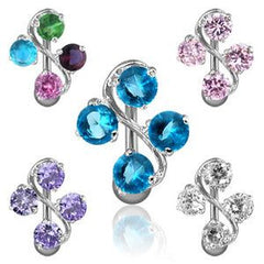 Crystal Vine Reverse Belly Button Bar