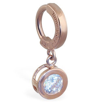 TummyToys® Patented Clasp. Quality Belly Rings. TummyToys® Solid Rose Gold CZ Dangle