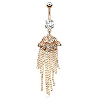 14K Rose Gold Foliage Chain Belly Bar - Dangling Belly Ring. Navel Rings Australia.