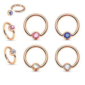 Rose Gold Captive Bead Navel Rings - Captive Belly Ring. Navel Rings Australia.