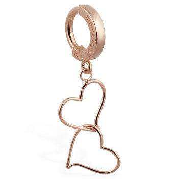 TummyToys® Solid Rose Gold Hand Made Double Heart Navel Ring - TummyToys® Patented Clasp. Navel Rings Australia.