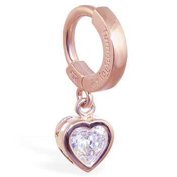 TummyToys® Patented Clasp. High End Belly Rings. TummyToys® Rose Gold Cubic Zirconia Heart Navel Bar