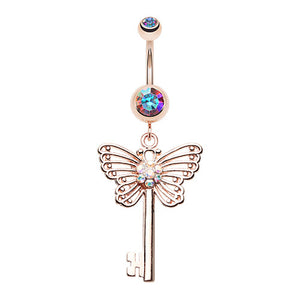 Unlocked Butterfly Wings Belly Ring - Dangling Belly Ring. Navel Rings Australia.