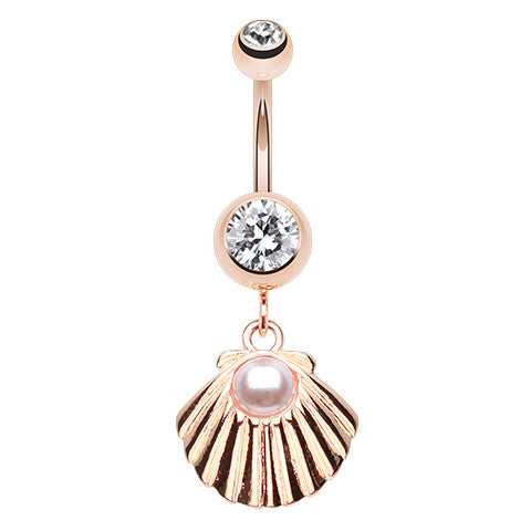 Rose Gold Pearled Shell Belly Piercing - Dangling Belly Ring. Navel Rings Australia.