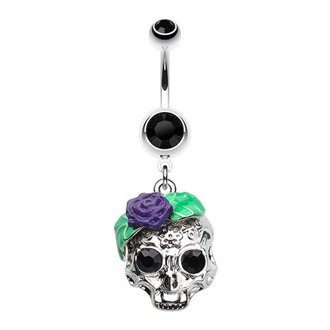 Dangling Belly Ring. High End Belly Rings. Rose Ornate Sugar Skull Dangly Navel Bar