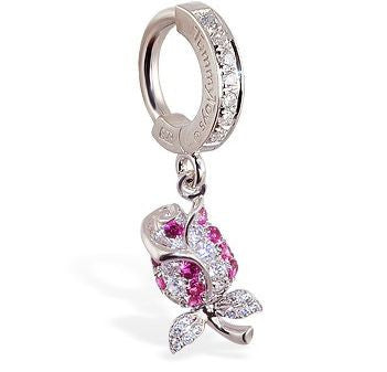 TummyToys® Jewel Paved Rose Belly Bar - TummyToys® Patented Clasp. Navel Rings Australia.