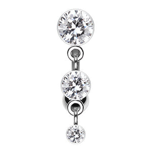 Trio Crystalline Top Mount Navel Ring - Reverse Top Down Belly Ring. Navel Rings Australia.