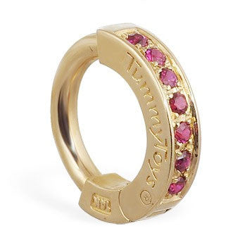 TummyToys® Yellow Gold Ruby Pave Sleeper - TummyToys® Patented Clasp. Navel Rings Australia.