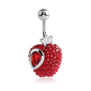 Fixed (non-dangle) Belly Bar. Quality Belly Rings. Adams Juicy Apple Belly Button Ring