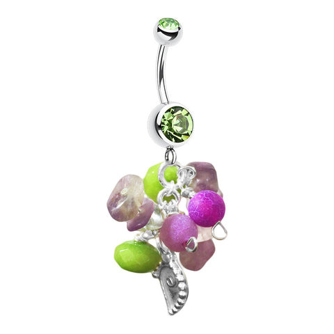 Dangling Belly Ring. Belly Rings Australia. Saltwater Peridot Avant Sea Shells