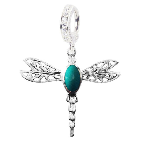 TummyToys® Patented Clasp. Navel Rings Australia. Saltwater Silver Turquoise Dragonfly