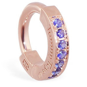 TummyToys® Rose Gold Sapphire Pave Sleeper - TummyToys® Patented Clasp. Navel Rings Australia.