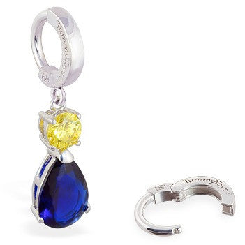 TummyToys® Sapphire and Citrine Coloured CZ Drop - TummyToys® Patented Clasp. Navel Rings Australia.