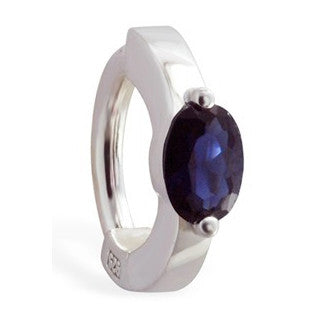 TummyToys® Silver With Sapphire Blue Cubic Zirconia Sleeper - TummyToys® Patented Clasp. Navel Rings Australia.