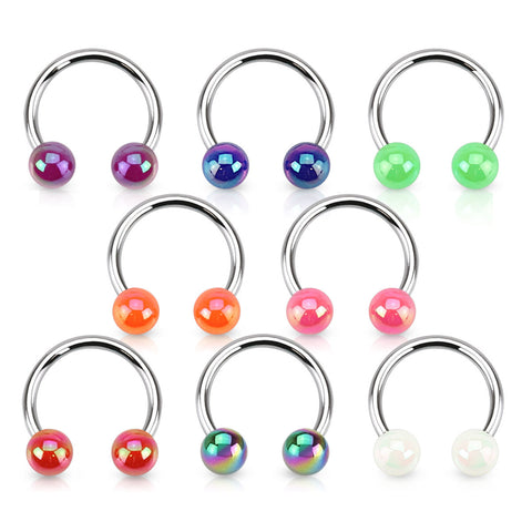 Circular Barbell / Horse Shoe. Belly Bars Australia. Shiny Aurora Acrylic Horseshoe