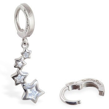 TummyToys® Silver CZ Shooting Stars Navel Jewellery - TummyToys® Patented Clasp. Navel Rings Australia.