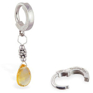 TummyToys® Citrine and Silver Belly Piercing Ring - TummyToys® Patented Clasp. Navel Rings Australia.