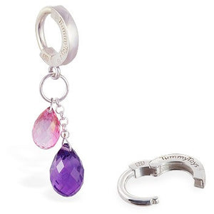 TummyToys® Pink Topaz and Natural Amethyst Belly Jewellery - TummyToys® Patented Clasp. Navel Rings Australia.
