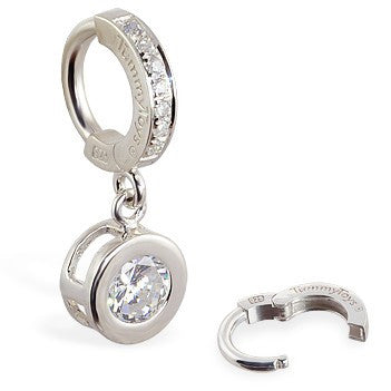 TummyToys® Paved Silver Bezel Set - TummyToys® Patented Clasp. Navel Rings Australia.