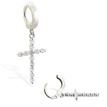 TummyToys® CZ Diamond Cross Navel Piercing Bar - TummyToys® Patented Clasp. Navel Rings Australia.