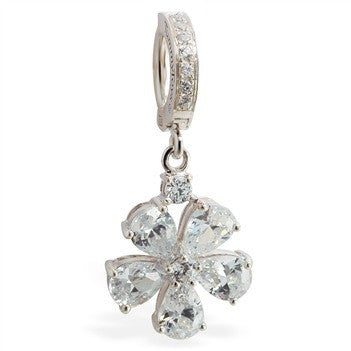 TummyToys® CZ Paved Flower Belly Ring - TummyToys® Patented Clasp. Navel Rings Australia.
