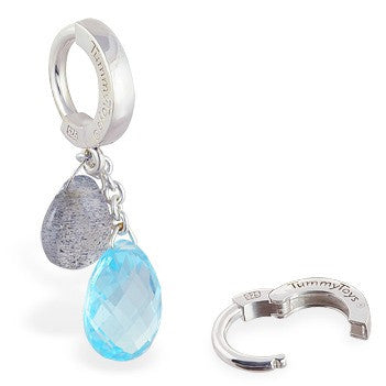 TummyToys® Blue Topaz and Labradorite on Plain Clasp - TummyToys® Patented Clasp. Navel Rings Australia.