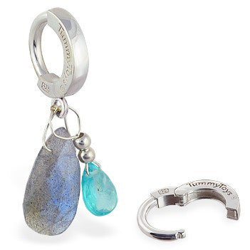 TummyToys® Apatite and Labradorite Navel Bar - TummyToys® Patented Clasp. Navel Rings Australia.