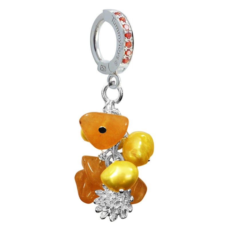 Summer Tourmaline Pearl Cluster - TummyToys® Patented Clasp. Navel Rings Australia.