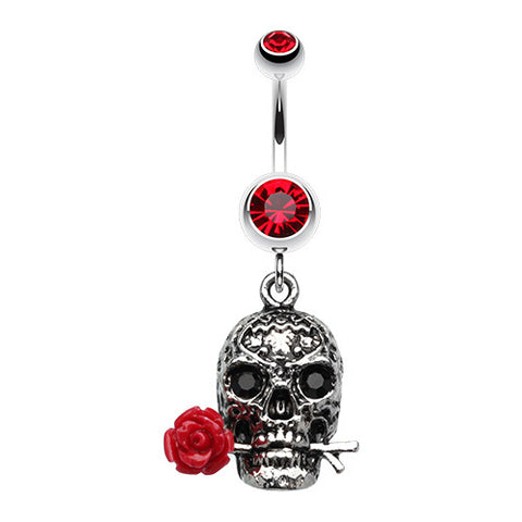 Dangling Belly Ring. Quality Belly Rings. Red Rose Skull Dangly Navel Ring