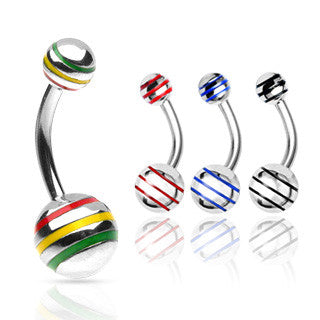 Basic Curved Barbell. Quality Belly Rings. The Striped Classique Belly Bar