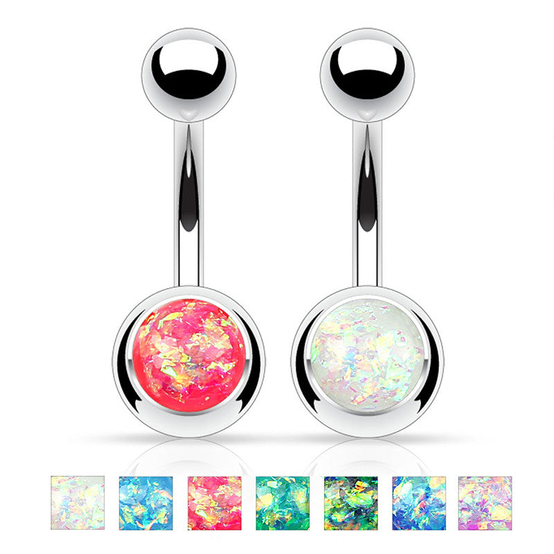 Single Gem Opal Gleam Classique Belly Bars - Basic Curved Barbell. Navel Rings Australia.