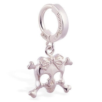 TummyToys® Patented Clasp. Belly Bars Australia. TummyToys® Silver Femme Metale's Silver Skull and Bow Navel Bar
