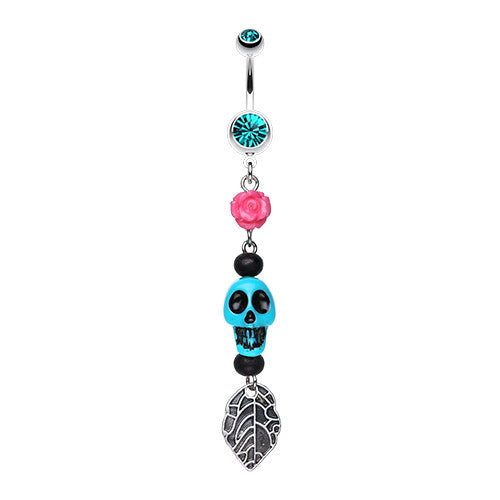 Punk Rose Skull Leaf Belly Piercing - Dangling Belly Ring. Navel Rings Australia.