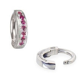 TummyToys® Patented Clasp. High End Belly Rings. TummyToys® White Gold Ruby Pave Sleeper