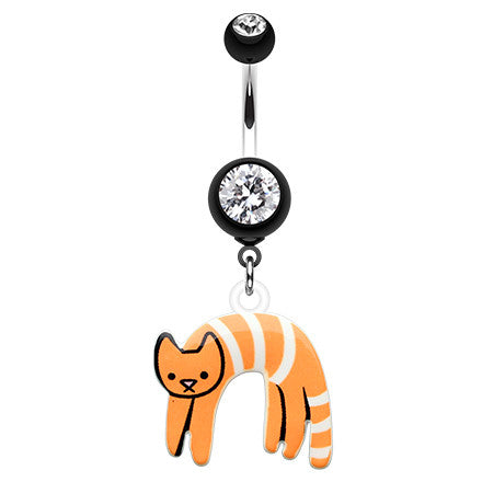 Dangling Belly Ring. Belly Bars Australia. Lounging Kitty Belly Button Ring Dangle