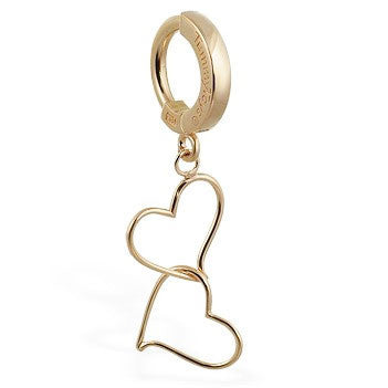 TummyToys® Solid Yellow Gold Hand Made Double Heart Belly Piercing - TummyToys® Patented Clasp. Navel Rings Australia.
