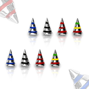Striped Surgical Steel Spike Balls - Replacement Ball. Navel Rings Australia.
