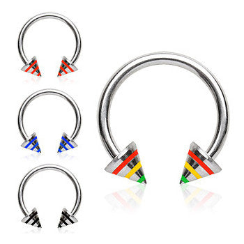 Circular Barbell / Horse Shoe. Belly Bars Australia. Trio Stripe Spike Circular Belly Piercing Ring