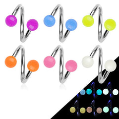 Glow in Dark Spiral Twist Belly Piercings