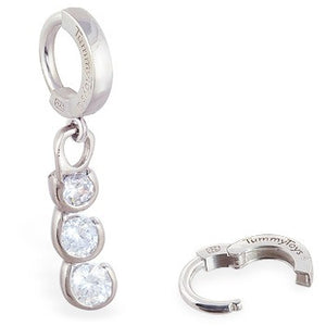 TummyToys® Steel Cubic Zirconia Drop Sleeper - TummyToys® Patented Clasp. Navel Rings Australia.