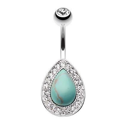 Paved Turquoise Chakra Navel Piercing Bar - Fixed (non-dangle) Belly Bar. Navel Rings Australia.