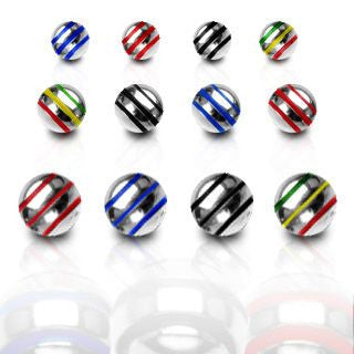 Striped Surgical Steel Loose Balls - Replacement Ball. Navel Rings Australia.