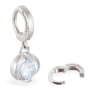 TummyToys® Bezel Set Round Cubic Zirconia Surgical Steel Clasp - TummyToys® Patented Clasp. Navel Rings Australia.