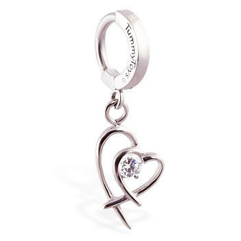 TummyToys® Patented Clasp. High End Belly Rings. TummyToys® Double Heart Surgical Steel Clasp