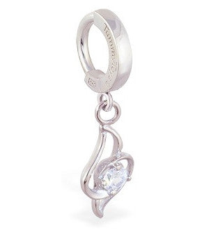 TummyToys® Sexy Free Form CZ Charm Surgical Steel Clasp - TummyToys® Patented Clasp. Navel Rings Australia.